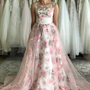 Pink/Blush Floral Bridal Gown with Laceup Back
